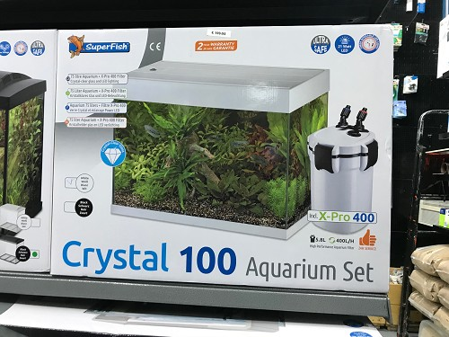 superfish crystal 100 aquarium set zwart/wit